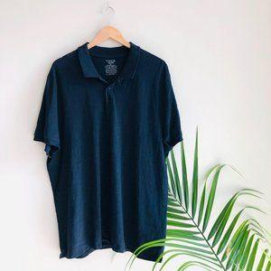 Vince Short Sleeve Cotton Polo Shirt Blue Navy XXL